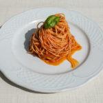 Spaghetti mit schwarzer Knoblauch Tomatensoße